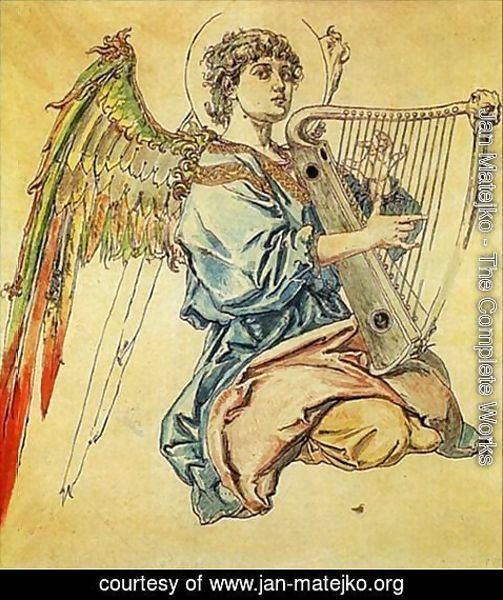 Jan Matejko - Angel with harp