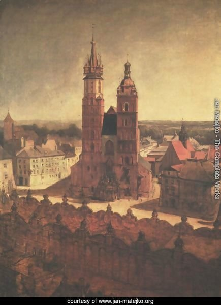 View of the St. Mary's Church from the Town Hall Tower in Cracow
