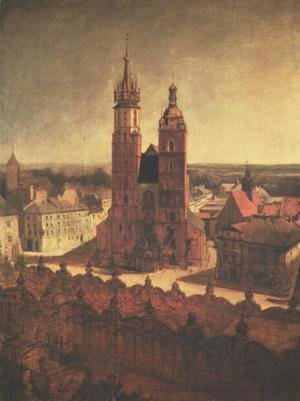 Jan Matejko - View of the St. Mary's Church from the Town Hall Tower in Cracow