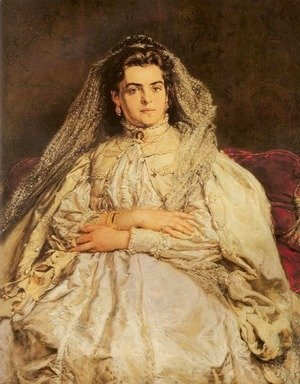 Jan Matejko - Portrait of Artist's Wife in a Wedding Dress