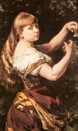 Jan Matejko - Portrait of the Artist's Daughter Beata with a Canary